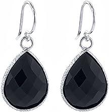 1300 Ct Natural Black Onyx 16x12mm Pear Shape 925 Silver Dangle Earrings