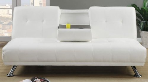Plush Cream Faux Leather Adjustable Sofa Bed by Poundex