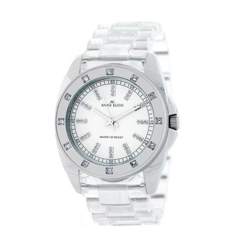 AK Anne Klein Women's 109179WTCL Silver-Tone Swarovski Crystal Accented Watch