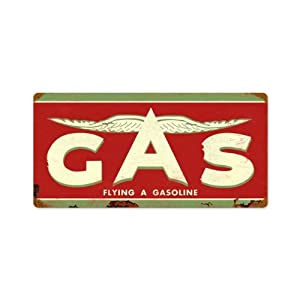 Flying A Original Gas Vintage Metal Sign Auto Car Garage 24 X 14 Not Tin