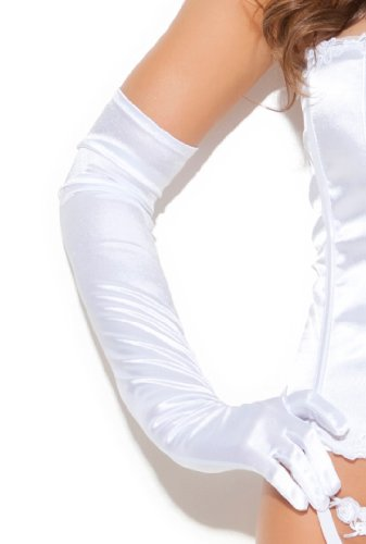 エレガントモーメント ストレッチサテン ロンググローブ 手袋EM1600 (ホワイト)
