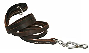 Dean & Tyler Soft Touch 1/2-Inch Black Padding Dog Leash with Brown Stainless Steel Ring on Handle and Herm Sprenger Snap Hook, 6-Feet by 1/2-Inch