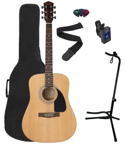Fender Fa-100 Acoustic Guitar Package With Gig Bag, Strap, Picks, Electronic Tuner And Deluxe Stand