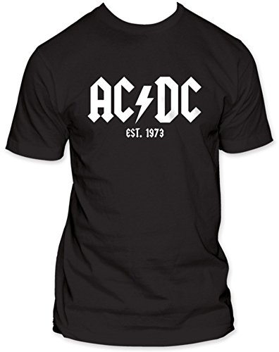 Mens Official AC/DC T-Shirt - Est. 1973 - Black or Gray - S to XXL
