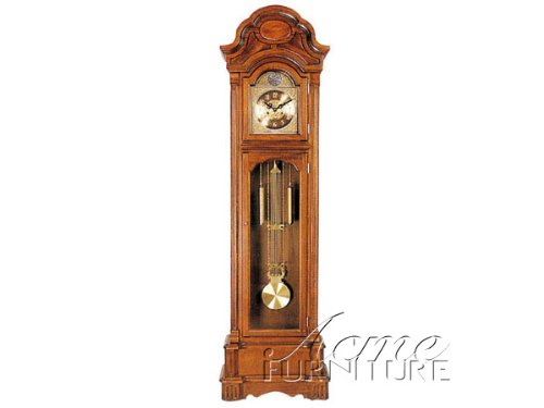 Grandfather Clock with Beveled Glass in Light Oak Finish Acs001403