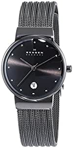 Skagen Women's 355SMM1 White Label Analog Display Quartz Black Watch
