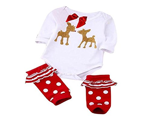 2016 Newborn Infant Baby Girl Romper Jumpsuit Bodysuit Christmas Set (9M)