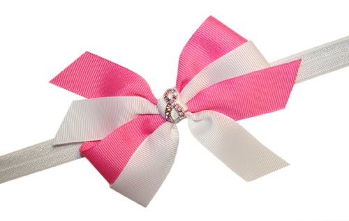 Webb Direct 2U Baby-Girls Pink Breast Cancer Rhinestone Hair Bow Headband G6051 front-1074839