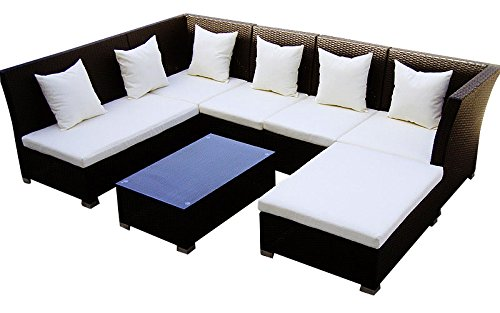 Baidani Gartenmöbel-Sets 10d00004.00001 Designer Lounge-Garnitur Thunder, 4-er Sofa, 2er Sofa, 1 Hocker, Couch-Tisch mit Glasplatte, schwarz