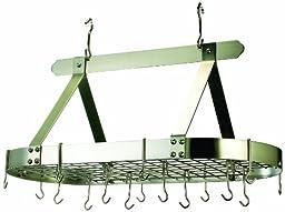 Old Dutch Oval Steel Pot Rack w. Grid &16 Hooks, Satin Nickel, 36\
