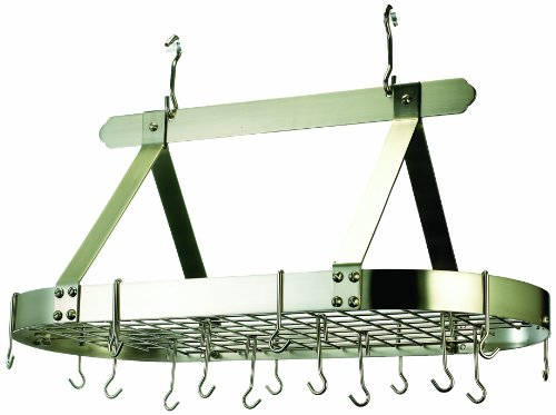 Old Dutch Oval Steel Pot Rack w. Grid &16 Hooks, Satin Nickel, 36