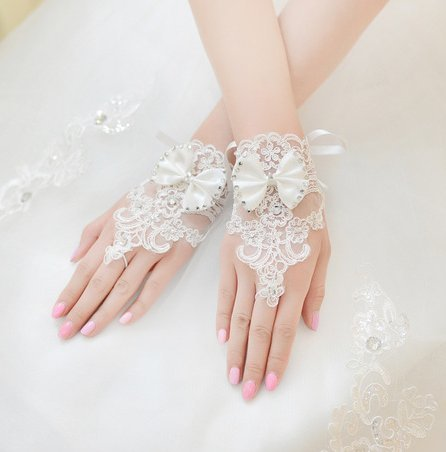 Sunshinesmile Party Wedding Bridal Lace Gloves White
