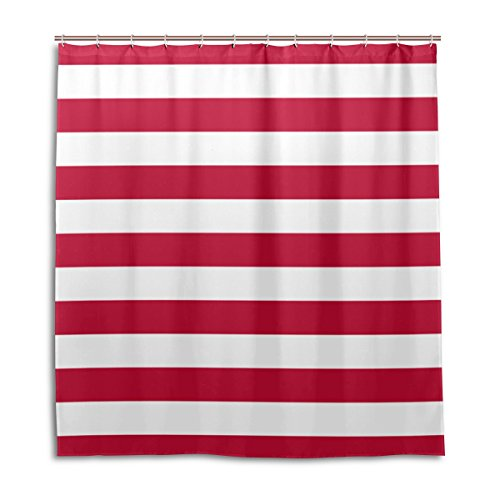 BAIHUISHOP Bathroom Shower Curtain With 12 Hooks Mildew Proof Polyester Fabric 66X72 Inch Red and White Bar Pattern Pattern
