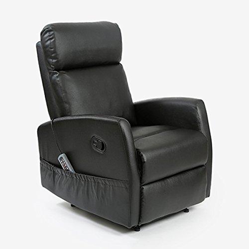 Komfortsessel mit Massagefunktion 5 Massagemodi, 3 Leistungsstufen, 8 Vibrationsmotoren, Wärmefunktion, 3 Sitzeinstellungen, Fernbedienung, aus hochwertigem Kunstleder 60 x 101 x 80 cm - schwarz