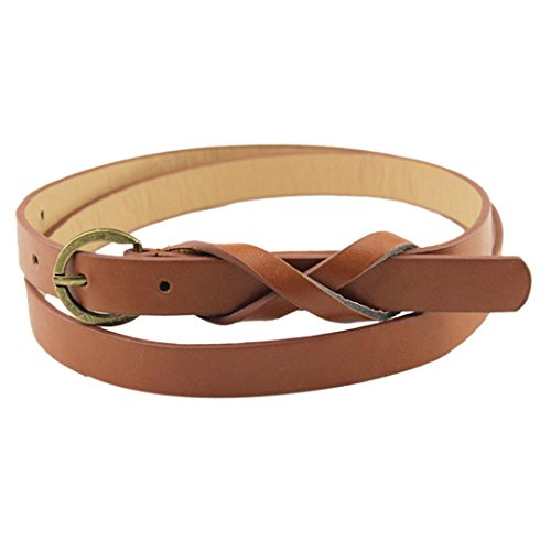 DDLBiz Women Slim Ultra-thin Leather Belt Retro Decorative Copper 8 Words Simple Belt (Coffee)