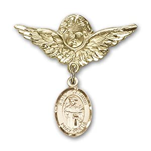 14K Gold Baby Badge with St. Casimir of Poland Charm and Angel with Wings Badge Pin