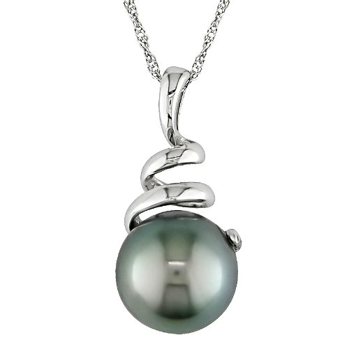 14K White Gold 8-9mm Tahitian Pearl Spiral Necklace