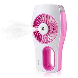 Yostar® Handheld USB Mini Misting Fan with Personal Cooling Humidifier (Pink)