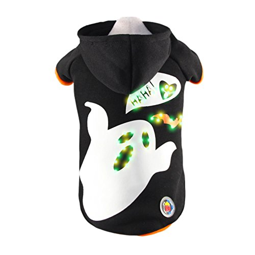 Royal Wise Black Pet Dog LED Light up Ghost Hoodie Sweater Coat Clothes (L)