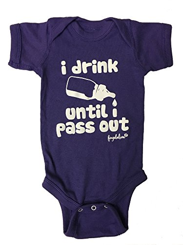 buy Fayebeline Boutique Quality Baby Onesie I Drink Until I Pass Out Funny Baby Gift, Purple, 0-6M for sale