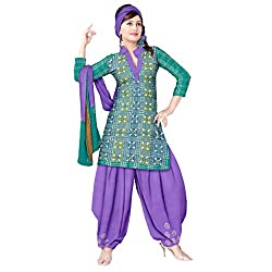Green and Violet Bandini Dress Material with Work
