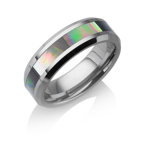 Tungstino Ring 'Mother of Pearl' Tungsten Carbide, Size:10 (19.84)