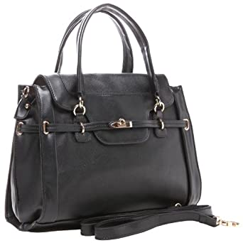 MG Collection WINONA Black Office Doctor Tote Style Satchel Handbag