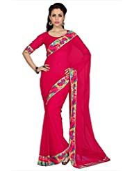 Designersareez Women Tomato Red Faux Georgette Digital Printed Border Saree With Unstitched Blouse (1608)