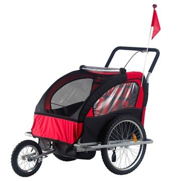 Aosom 2in1 Double Baby Bicycle Bike Trailer and Stroller - Red