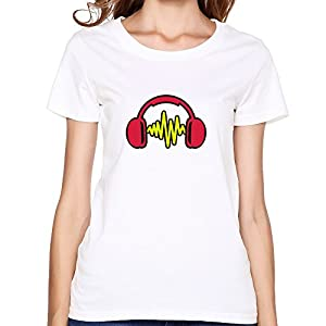 Sound Headphones Print Korean Short Sleeve O Neck T Shirt For Women