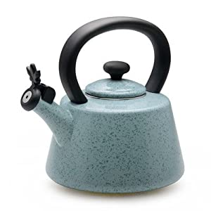 Paula Deen Signature Teakettles 2-Quart Enamel on Steel Whistling Kettle, Blue Speckle