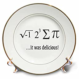3dRose cp_128179_1 I Ate Sum Pi It Was Delicious Porcelain Plate, 8-Inch