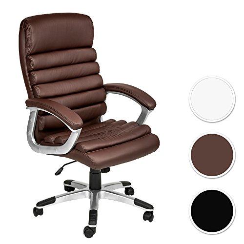 TecTake-Design-Brostuhl-Chefsessel-mit-gepolsterten-Armlehnen-Softpolsterung-Wippmechanik-diverse-Farben-Braun-Nr-402150