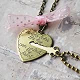 Key to My Heart - Heart and Key Couples Necklace - BONUS PACK with Baby Loves Pink Pin Button and Gift Wrap