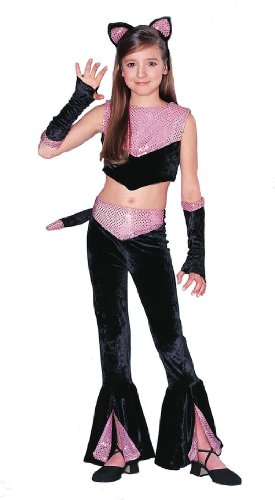 Too Cool Black & Pink Sequined Panther Kitty Cat Girls Large 12-14