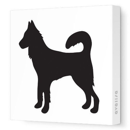 "Avalisa Stretched Canvas Nursery Wall Art, Dog Silhouette, Black, 18"" x 18"""