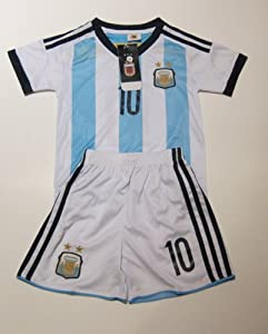Buy NEW ARGENTINA MESSI 10 FOOTBALL SOCCER KIDS CHILD JERSEY & SHORTS by WRAPITPACKITZ