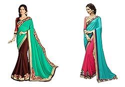 Pragya creations Women's Chiffon Saree (Prag31_Multi)-pack of 2