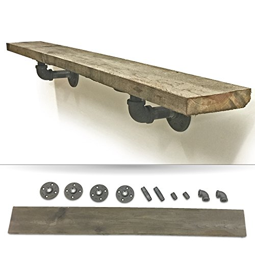 Reclaimed Wood Floating Wall Shelf Kit with Iron Pipe Wall Brackets. DIY Project Kit. (Natural Wood Shelf compare prices)