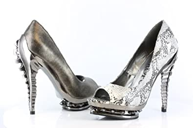 HADES RIPLEY Women's Hot Fashion Molded ABS Chrome Skeleton Heel Platform Pumps, Color:PEWTER, US Size6