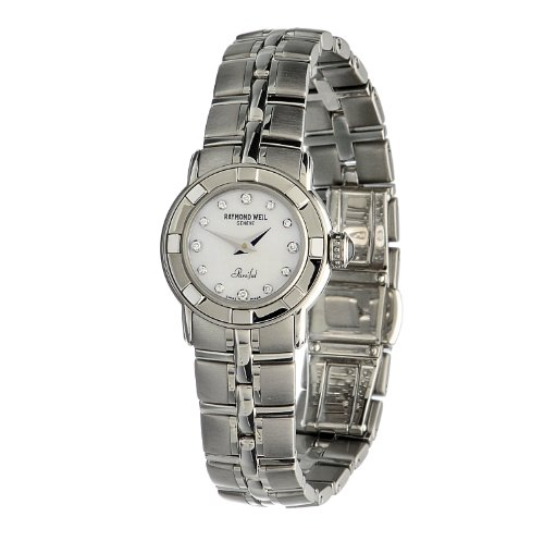 Raymond Weil Women's 9641-ST-97081 Parsifal Stainless Steel Case & Bracelet Mother-Of-Pearl Diamond Dial Watch