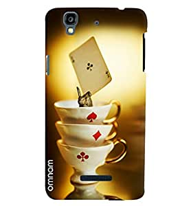 Omnam Three Cups Of Cards Game Printed Designer Back Cover Case For Micromax Yureka