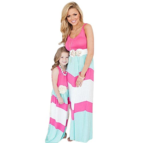 Mother And Daughter Stripe Stitching Dress Casual Family Clothes Women Dress (Daughter(2-3Y), Pink) (Pink And Blue Dress compare prices)
