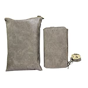 Jo Jo A7 Zara Sr Cut Series Leather Wallet sling Bag clutch Pouch Mobile Phone Case Cover For Karbonn K600 Light Grey