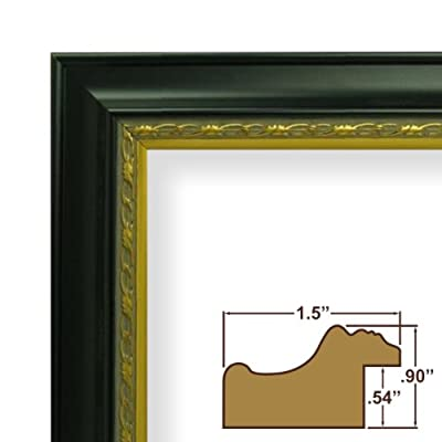 11x19 Custom Picture Frame / Poster Frame 1.5 Wide Complete Black with Ornate Gold Wood Frame (8335)