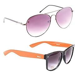 Elligator Stylish Spartiate Purple And Orange Wayfarer Sunglasses Combo ( Set of 2 )