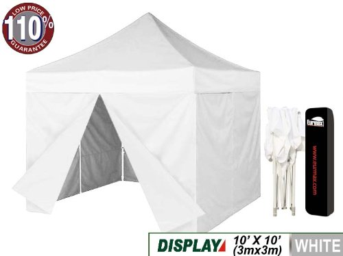 Eurmax White 10X10 Ez Pop Up Canopy Instant Party Gazebo Tent + 4 Zippered Sidewalls With Dust Cover (White) front-789453