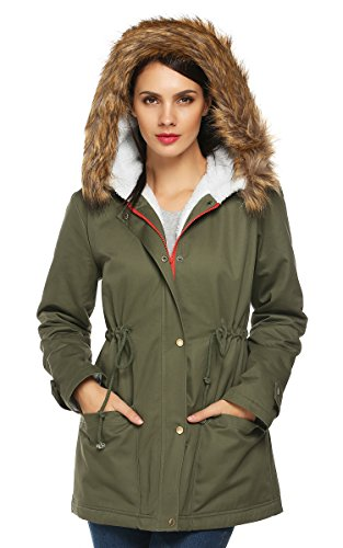 ACEVOG Women's Toggle Hooded Faux Fur Lined Overcoats Trench Coat Outwear