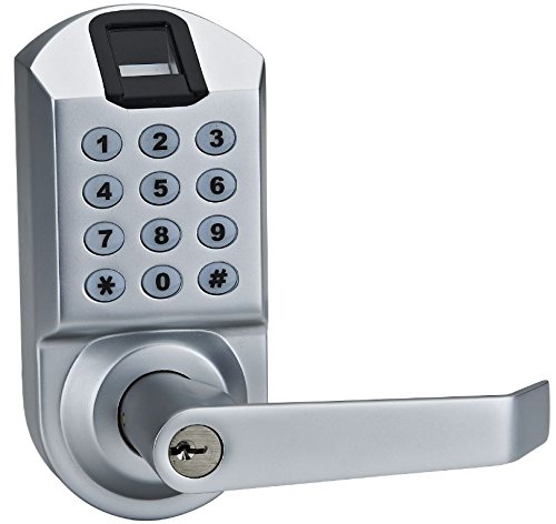 scyan x7 electronic fingerprint keypad keyless entry door lock system silver hardware hardware. Black Bedroom Furniture Sets. Home Design Ideas