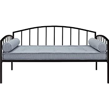 DHP Ava Metal Daybed Frame with Round Arm Design, Twin Size, Black